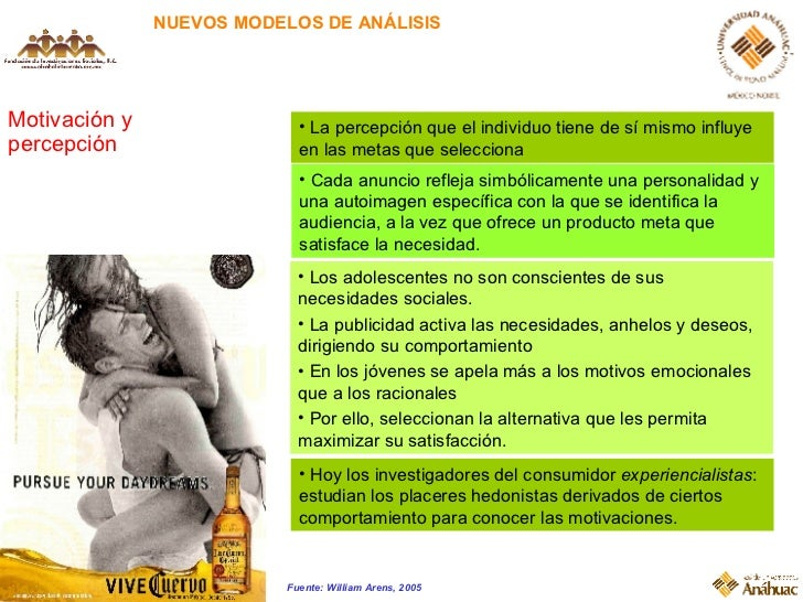 NUEVOS MODELOS DE ANÁLISIS Motivación y percepción <ul><li>La percepción que el individuo tiene de sí mismo influye en las...