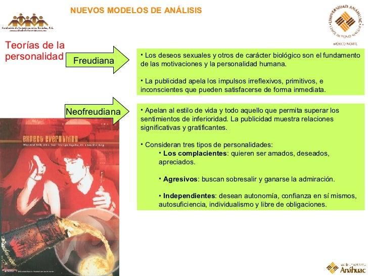NUEVOS MODELOS DE ANÁLISIS Teorías de la personalidad Freudiana <ul><li>Los deseos sexuales y otros de carácter biológico ...
