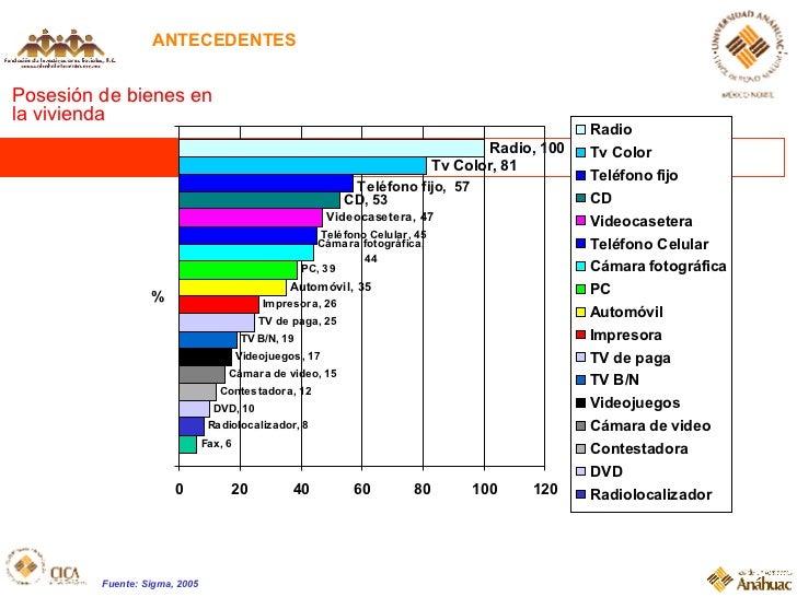 ANTECEDENTES Posesión de bienes en la vivienda Fuente: Sigma, 2005