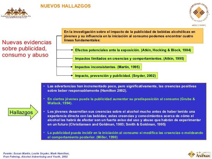 NUEVOS HALLAZGOS Nuevas evidencias sobre publicidad, consumo y abuso Fuente: Susan Martin, Leslie Snyder, Mark Hamilton, F...