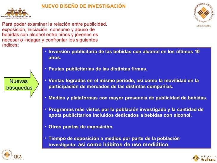 NUEVO DISEÑO DE INVESTIGACIÓN <ul><li>Inversión publicitaria de las bebidas con alcohol en los últimos 10 años. </li></ul>...