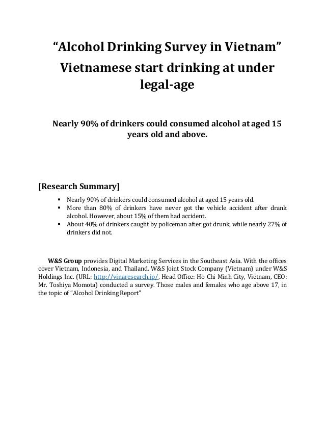 """Alcohol Drinking Survey in Vietnam"" Vietnamese start drinking at under legal-age Nearly 90% of drinkers could consumed al..."