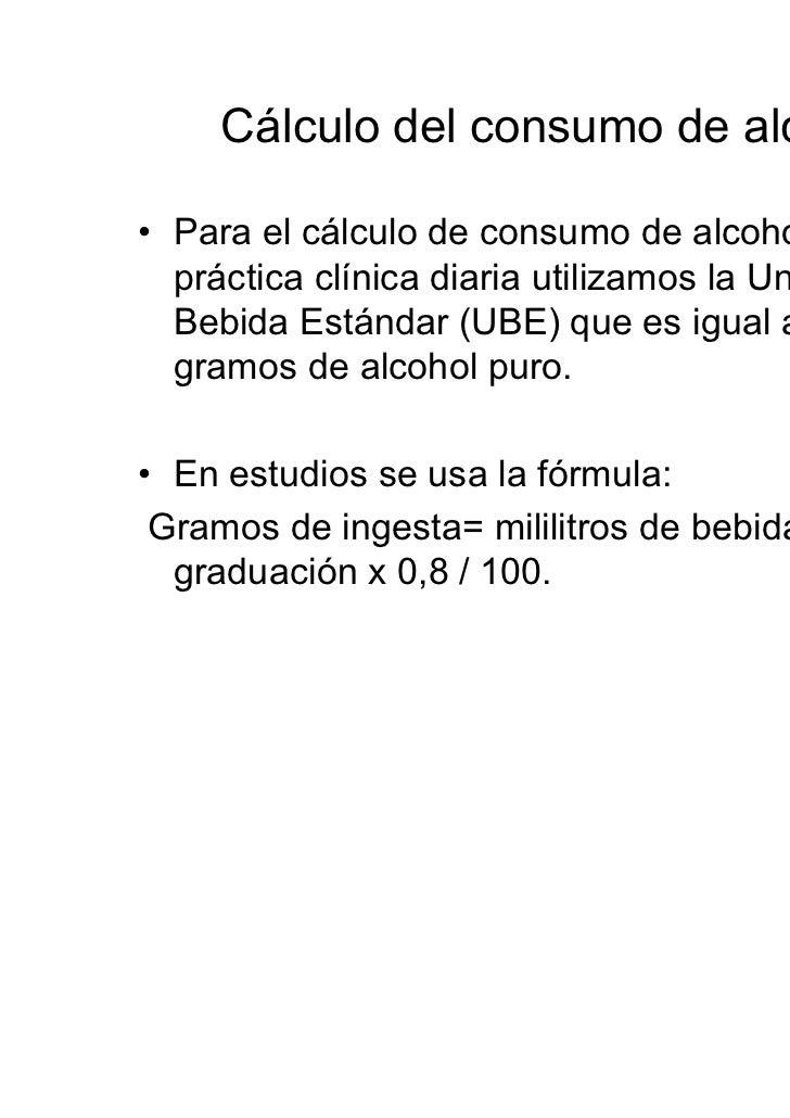 Consumo de alcohol: cuantificación