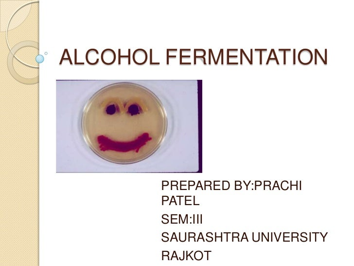 ALCOHOL FERMENTATION       PREPARED BY:PRACHI       PATEL       SEM:III       SAURASHTRA UNIVERSITY       RAJKOT