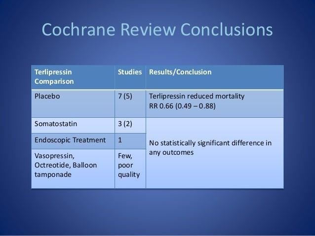 Cochrane Review Conclusions Terlipressin Comparison Studies Results/Conclusion Placebo 7 (5) Terlipressin reduced mortalit...