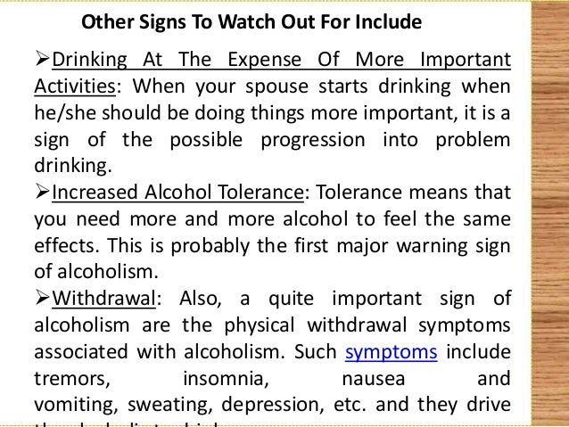 Alcoholic spouse signs to watch out for