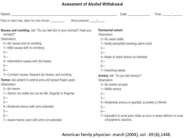 Alcohol intoxication & withdrawal