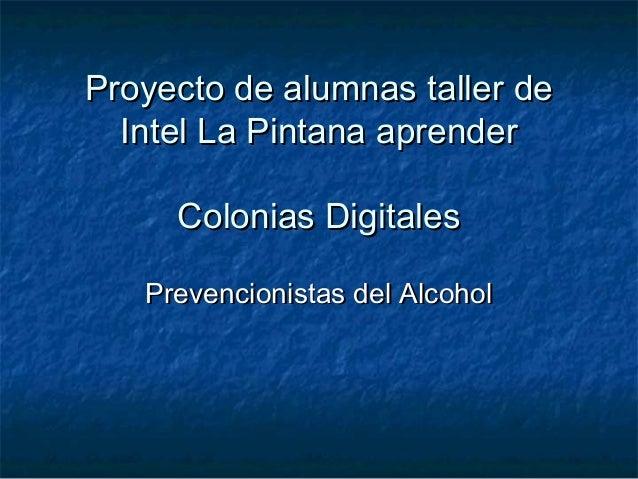 Proyecto de alumnas taller de  Intel La Pintana aprender     Colonias Digitales   Prevencionistas del Alcohol