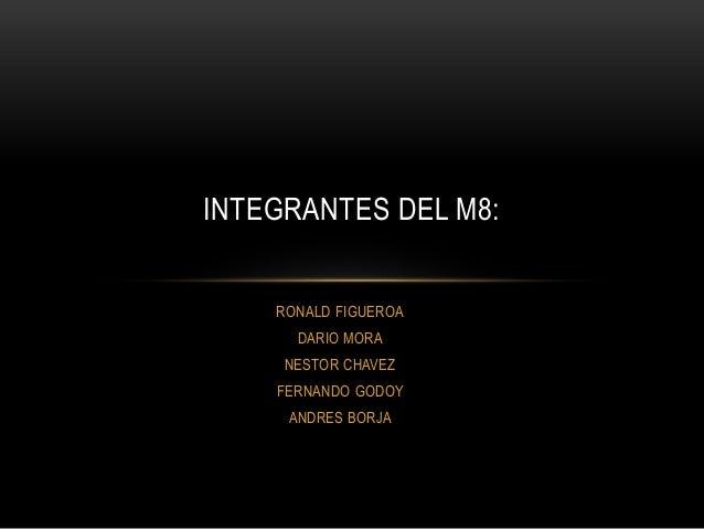 RONALD FIGUEROA DARIO MORA NESTOR CHAVEZ FERNANDO GODOY ANDRES BORJA INTEGRANTES DEL M8: