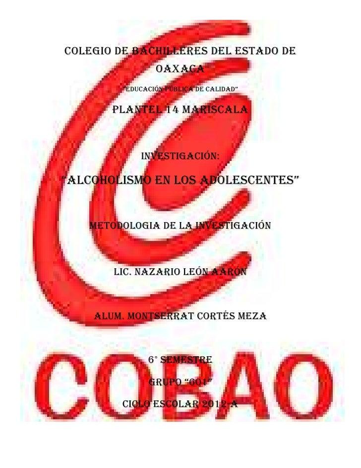 """COLEGIO DE BACHILLERES DEL ESTADO DE                 OAXACA         """"EDUCACIÓN PÚBLICA DE CALIDAD""""       PLANTEL 14 MARISC..."""
