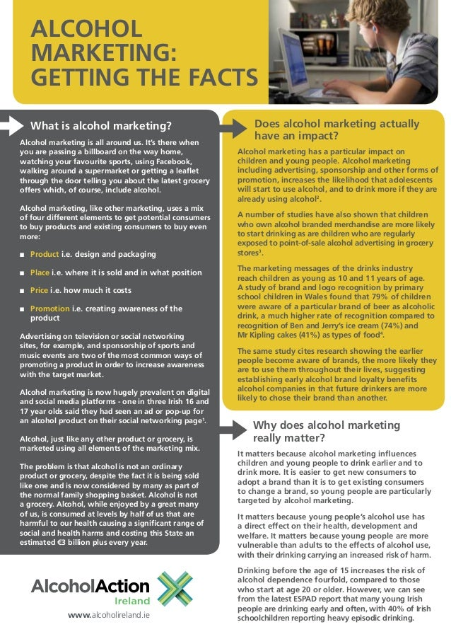 ALCOHOL     MARKETING:     GETTING THE FACTS     What is alcohol marketing?                              Does alcohol mark...