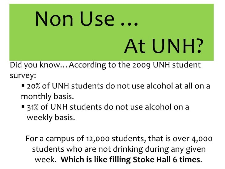 Non Use …<br />				At UNH?<br />Did you know…According to the 2009 UNH student survey:<br /><ul><li>20% of UNH students do...
