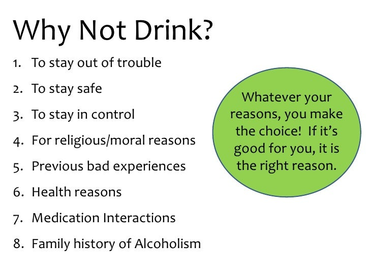 Reasons To Not Drink Alcohol