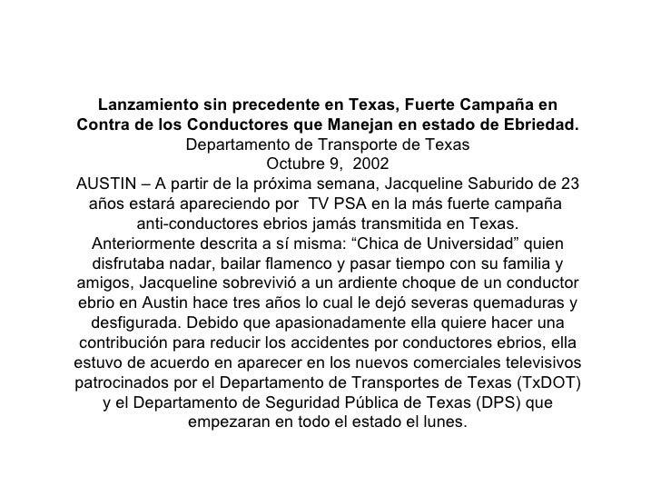 Lanzamiento sin precedente en Texas, Fuerte Campaña en Contra de los Conductores que Manejan en estado de Ebriedad. Depart...