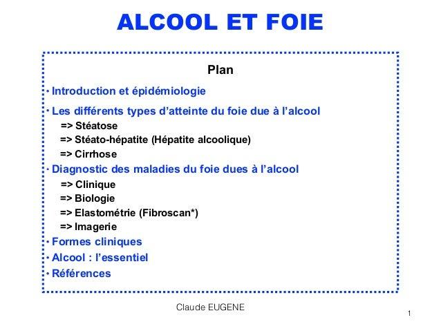 ALCOOL ET FOIE Plan • Introduction et épidémiologie • Les différents types d'atteinte du foie due à l'alcool => Stéatose...