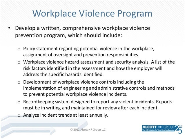 workplace violence prevention essay Violence in the workplace has increased threefold over the past 40 years something must be done to curb this as employees need a safe working environment.