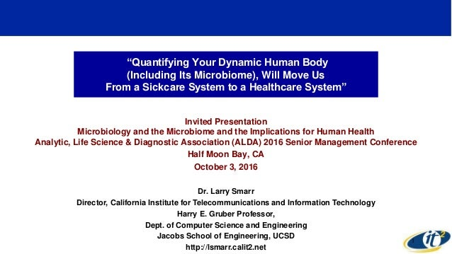 """Quantifying Your Dynamic Human Body (Including Its Microbiome), Will Move Us From a Sickcare System to a Healthcare Syste..."