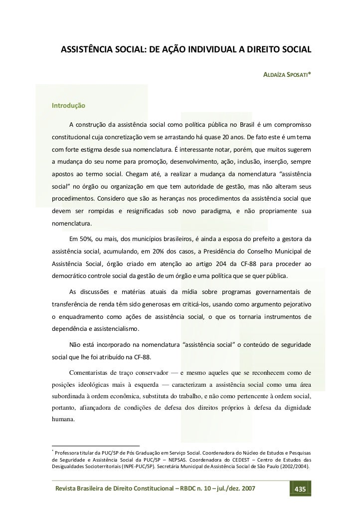 ASSISTÊNCIA SOCIAL: DE AÇÃO INDIVIDUAL A DIREITO SOCIAL                                                                   ...