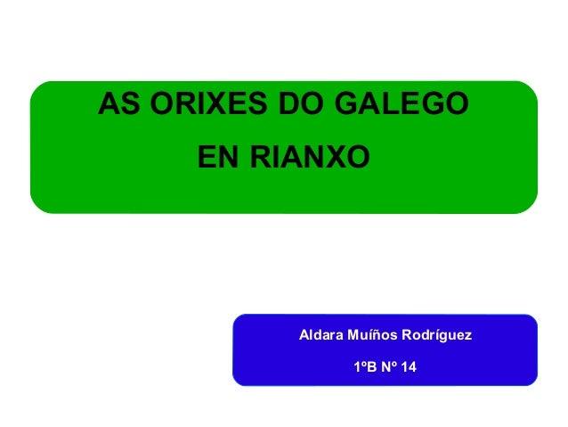 AS ORIXES DO GALEGO  EN RIANXO  Aldara Muíños Rodríguez  1ºB Nº 14