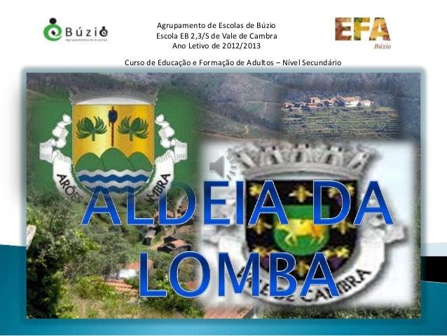 Agrupamento de Escolas de Búzio        Escola EB 2,3/S de Vale de Cambra            Ano Letivo de 2012/2013Curso de Educaç...