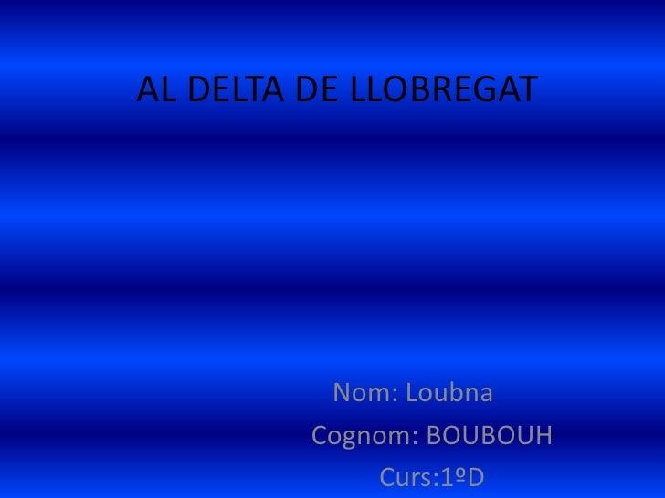AL DELTA DE LLOBREGAT          Nom: Loubna         Cognom: BOUBOUH             Curs:1ºD