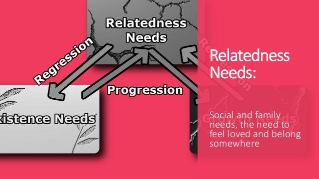 Relatedness Needs: Social and family needs, the need to feel loved and belong somewhere