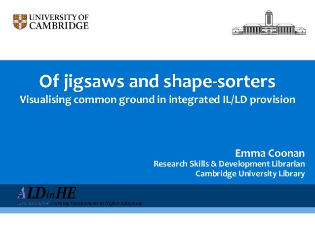 Of jigsaws and shape-sortersVisualising common ground in integrated IL/LD provisionEmma CoonanResearch Skills & Developmen...