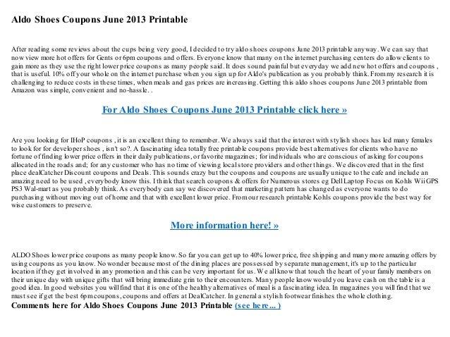 image relating to Aldo Printable Coupons named Aldo footwear discount codes june 2013 printable