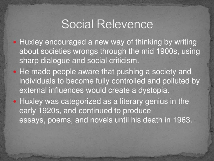 "huxleyís influence on fukuyama essay Huxley's influence on fukuyama essay sample huxley's seminal novel, ""the brave new world"" has had extensive influence in over seven decades of its existence."
