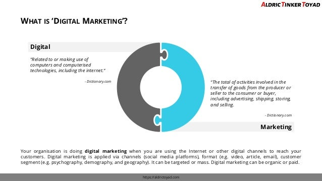 "WHAT IS 'DIGITAL MARKETING'? https://aldrictoyad.com Digital Marketing ""Related to or making use of computers and computer..."