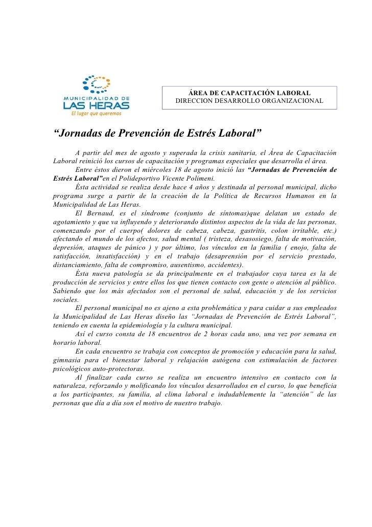 """ÁREA DE CAPACITACIÓN LABORAL                                         DIRECCION DESARROLLO ORGANIZACIONAL    """"Jornadas de P..."""