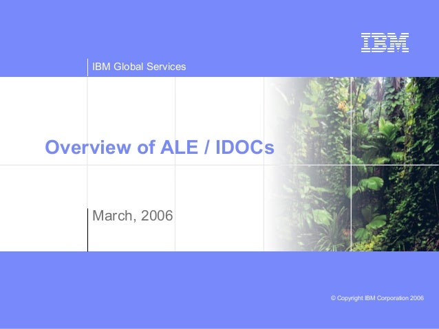 IBM Global Services © Copyright IBM Corporation 2006 Overview of ALE / IDOCs March, 2006