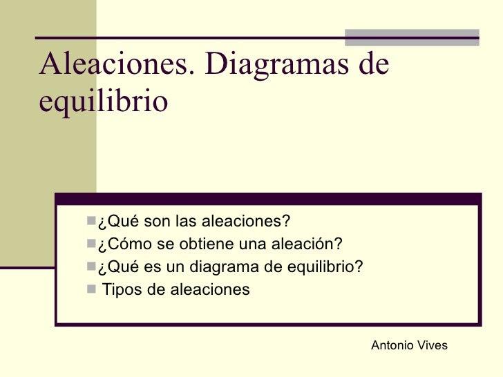 Aleaciones. Diagramas de equilibrio <ul><li>¿Qué son las aleaciones? </li></ul><ul><li>¿Cómo se obtiene una aleación?  </l...