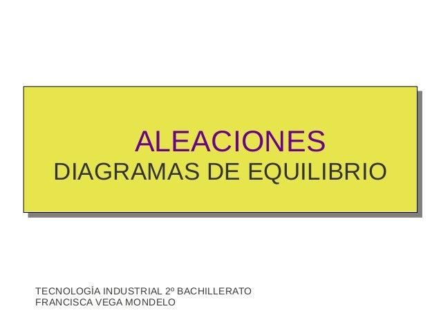ALEACIONES   DIAGRAMAS DE EQUILIBRIOTECNOLOGÍA INDUSTRIAL 2º BACHILLERATOFRANCISCA VEGA MONDELO