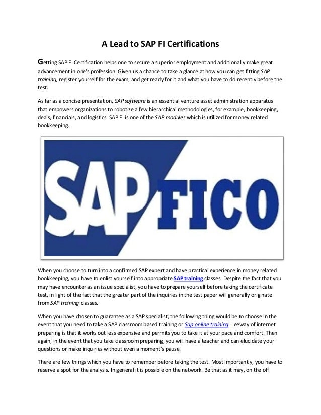 A Lead To Sap Fi Certifications