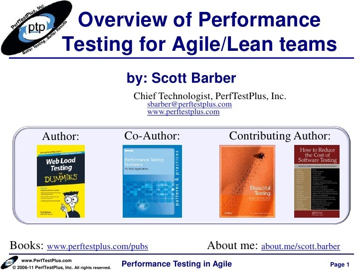 Overview of Performance                        Testing for Agile/Lean teams                                               ...