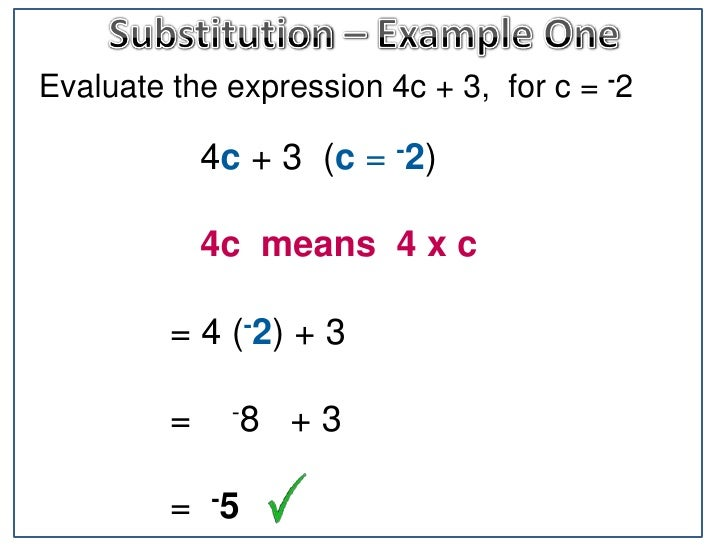 Algebra Substitution With Negative Numbers