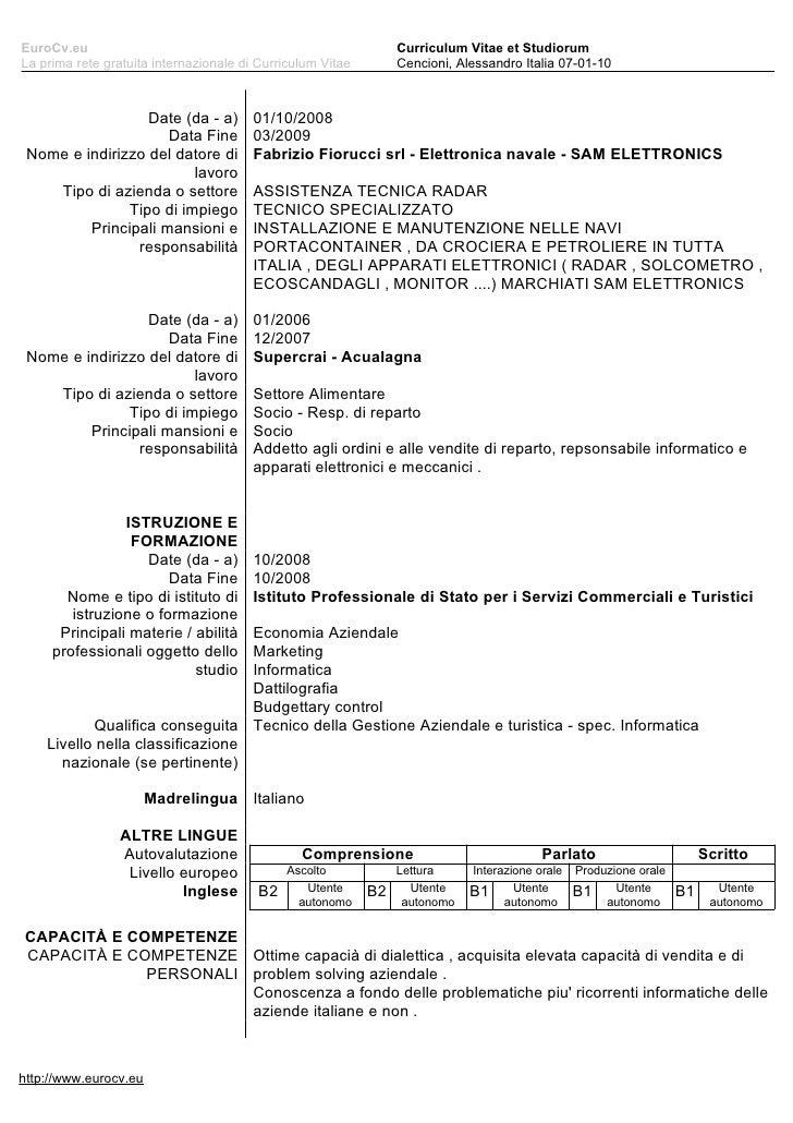 curriculum vitae et studiorum formato europeo