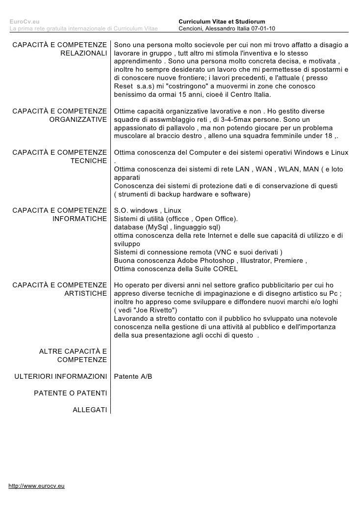 curriculum vitae et studiorum modello europeo