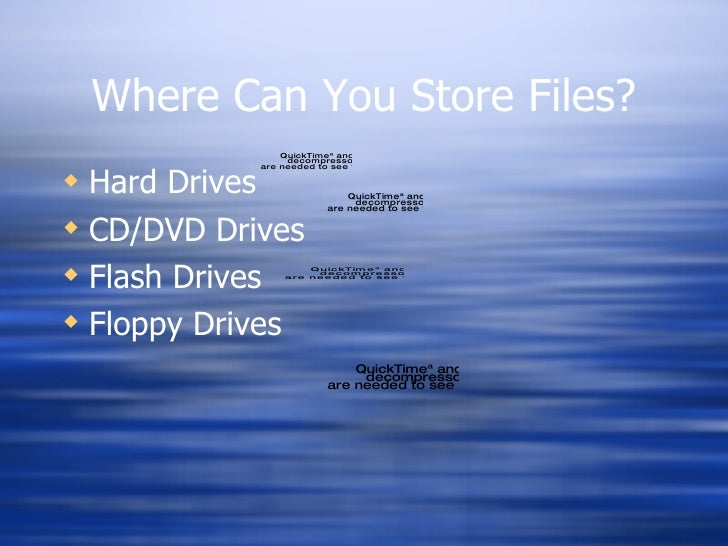 Where Can You Store Files? <ul><li>Hard Drives </li></ul><ul><li>CD/DVD Drives </li></ul><ul><li>Flash Drives </li></ul><u...