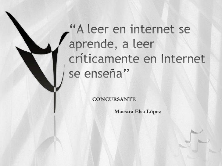 CONCURSANTE Maestra Elsa López