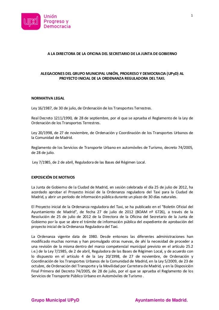 Alegaciones upyd al proyecto de la ordenanza del taxi - Oficina municipal del taxi ...
