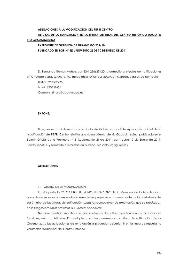 ALEGACIONES A LA MODIFICACIÓN DEL PEPRI CENTRO        ALTURAS DE LA EDIFICACIÓN EN LA RIBERA ORIENTAL DEL CENTRO HISTÓRICO...