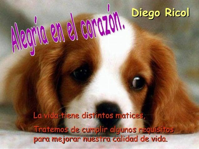 Diego RicolLa vida tiene distintos matices,Tratemos de cumplir algunos requisitospara mejorar nuestra calidad de vida.