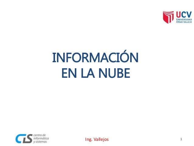 INFORMACIÓN EN LA NUBE 1Ing. Vallejos