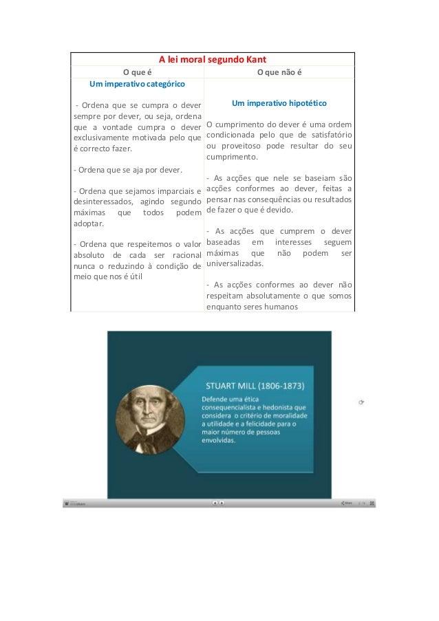 A lei moral segundo KantO que é O que não éUm imperativo categórico- Ordena que se cumpra o deversempre por dever, ou seja...