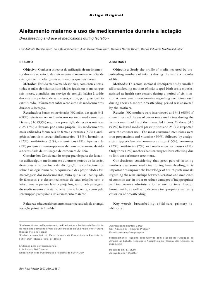Artigo Original     Aleitamento materno e uso de medicamentos durante a lactação Breastfeeding and use of medications duri...
