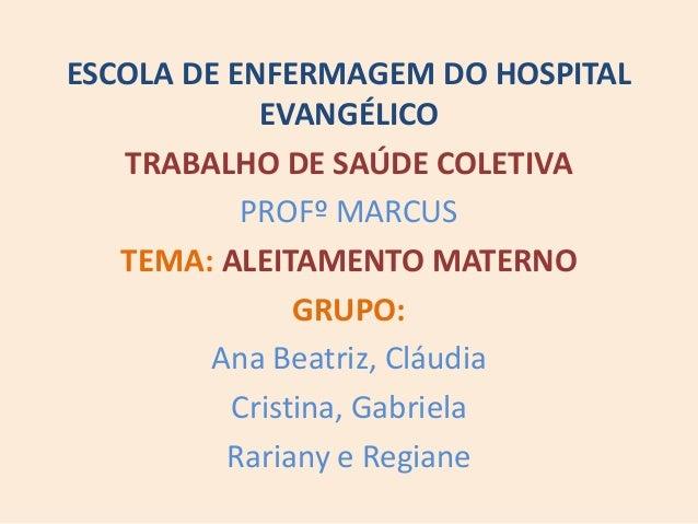 ESCOLA DE ENFERMAGEM DO HOSPITAL EVANGÉLICO TRABALHO DE SAÚDE COLETIVA PROFº MARCUS TEMA: ALEITAMENTO MATERNO GRUPO: Ana B...
