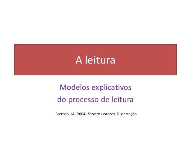 A leituraModelos explicativosdo processo de leituraBarroco, JA (2004) Formar Leitores, Dissertação