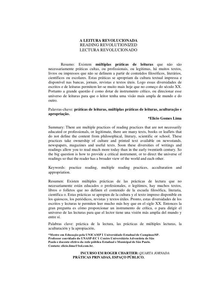 A LEITURA REVOLUCIONADA                    READING REVOLUTIONIZED                    LECTURA REVOLUCIONADO         Resumo:...